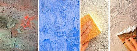 Образцы поверхности покрашенной фактурной краской