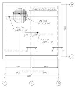Схема верхнего армирования монолитной плиты перекрытия