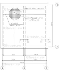 План нижнего армирования монолитной плиты перекрытия