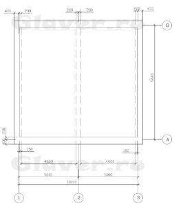 План перекрытия с размерами и обозначениями несущих стен
